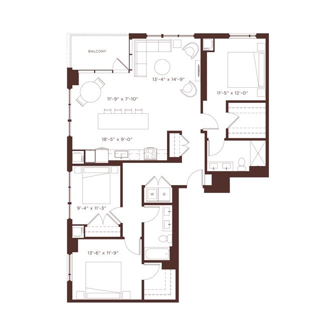 25 floorplan at North+Vine, Illinois
