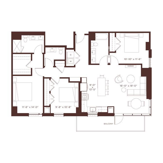 26 floorplan at North+Vine, Illinois, 60610