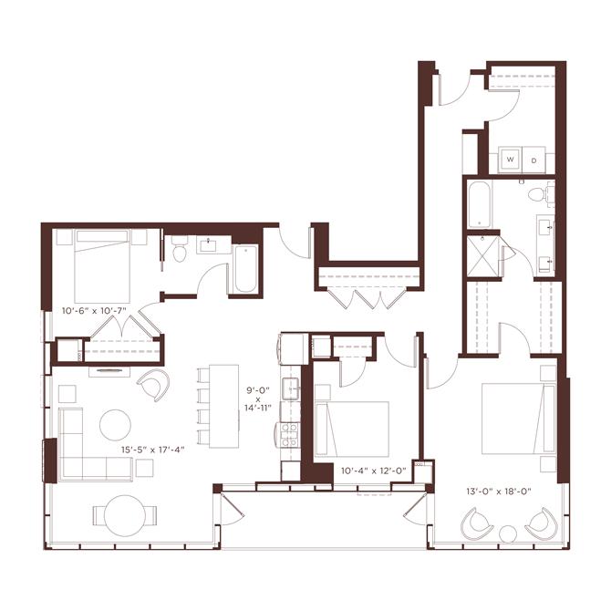 27 floorplan at North+Vine, Chicago, IL, 60610