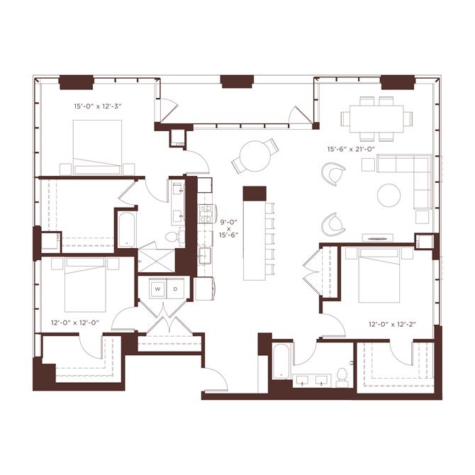 28 floorplan at North+Vine, Chicago, IL