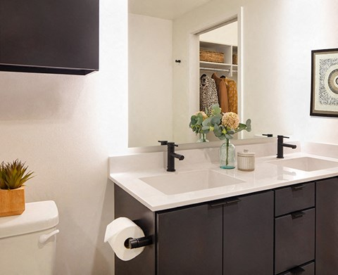 Bathroom vanity with quartz counters at North+Vine, Illinois, 60610
