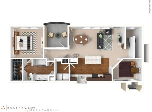 One bedroom, one bath with outdoor patio and large living room