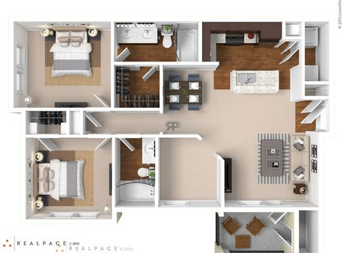 Two bedroom, two bath with open living room floor plan and outdoor patio