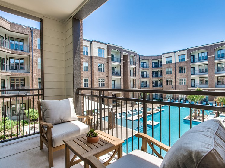 Bell Frisco Market Center apartments balcony overlooking pool