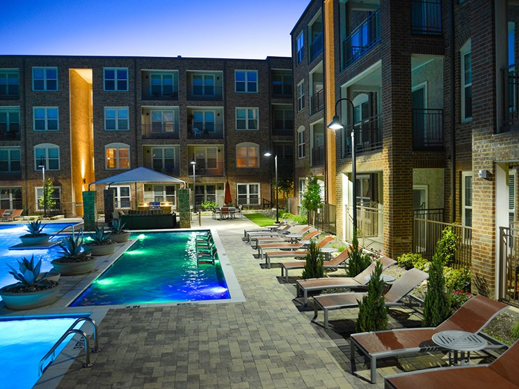 Bell Frisco Market Center apartments pool night