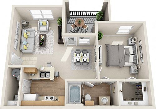 Floor Plan A 1X1 units available at The Legends of El Paso Apartments