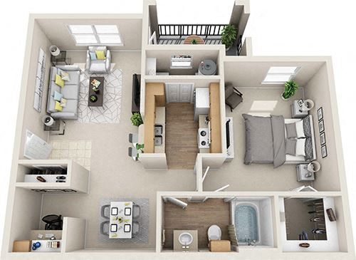 Floor Plan B 1X1 units available at The Legends of El Paso Apartments