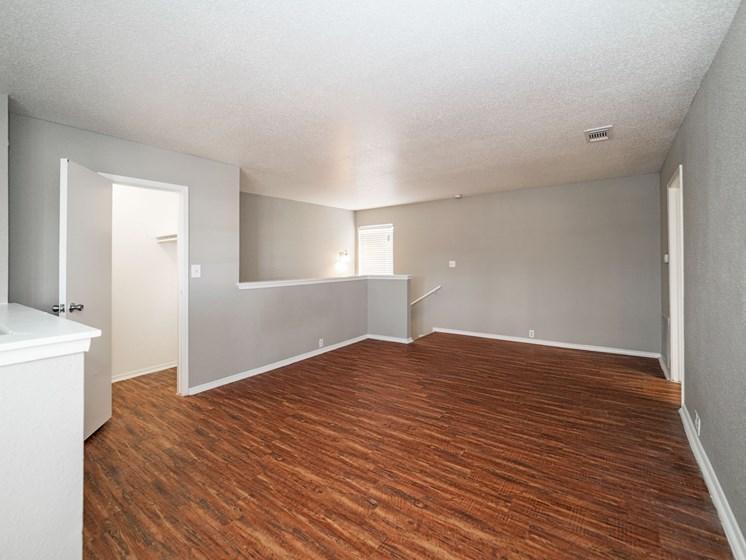 Wood Floor Living Room at The Alara, Texas