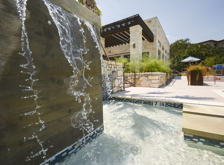 Close up of community pool and waterfall