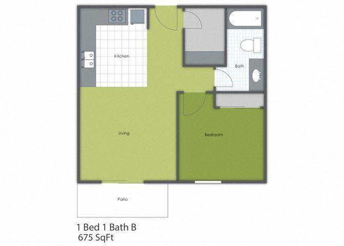 1 Bedroom 1 Bath B