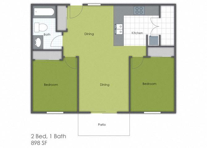 2 Bedroom 1 Bath A