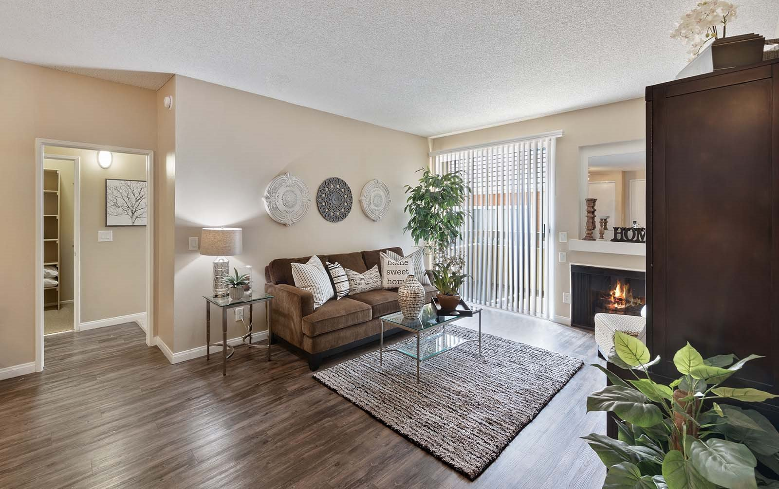 The Enclave Living room with fireplace