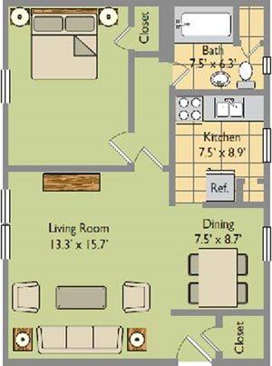 One Bedroom; One Bathroom