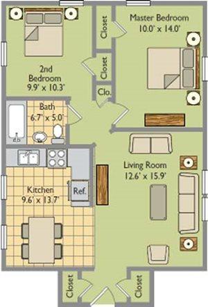 Two Bedroom; One Bathroom