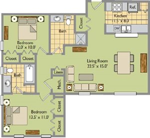 Two Bedroom, Two Bathroom Type A