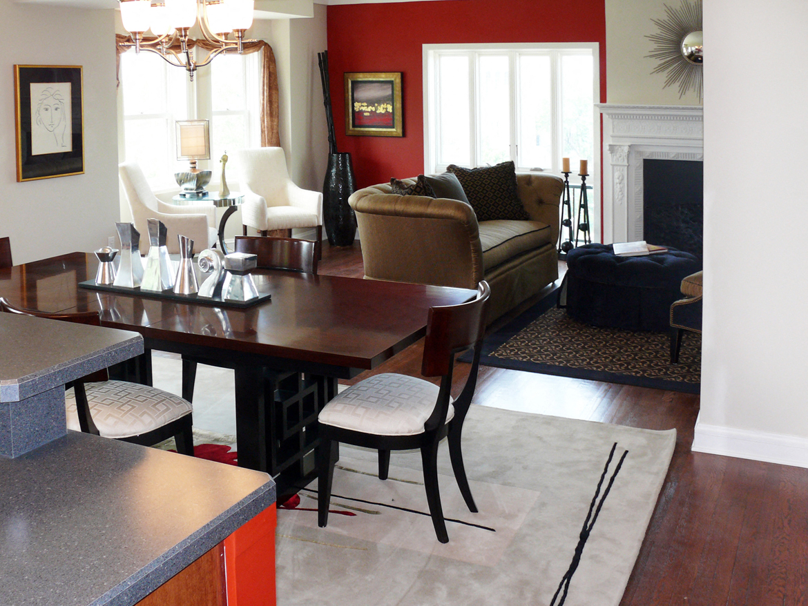 Dining and living room at Park Lane Villa Apartments in University Circle