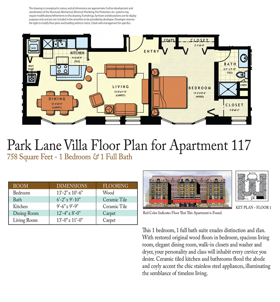 1-Bed 1-Bath Floor Plan 1