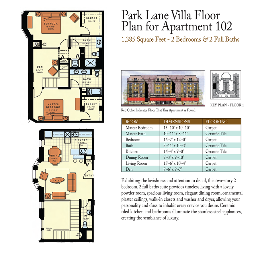 2-Bed 2-Baths Floor Plan 3