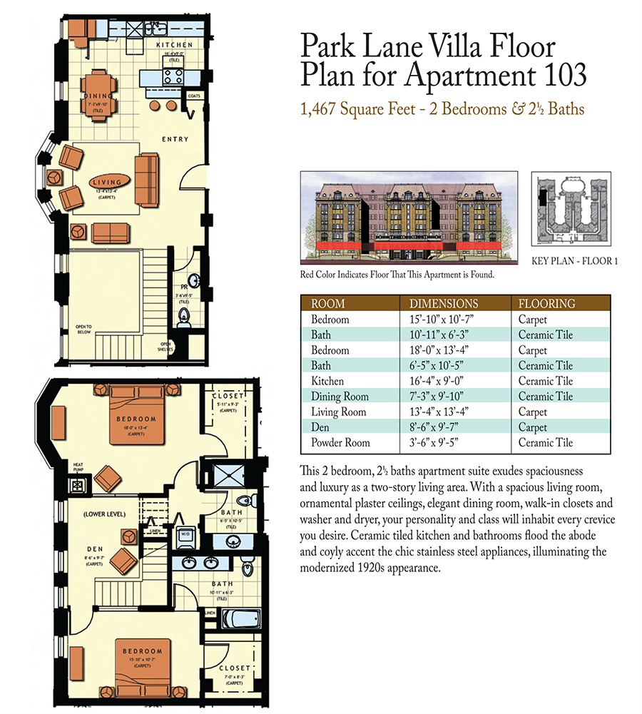 2-Bed 2.5-Baths Floor Plan 4