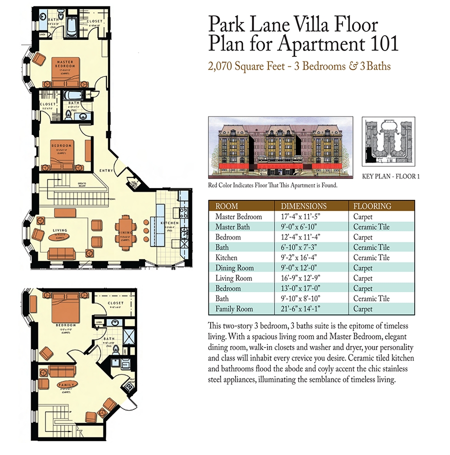 3-Bed 3-Baths Floor Plan 6