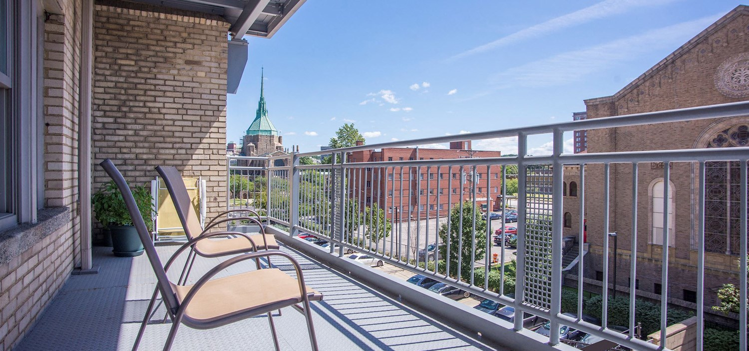 Balcony at Park Lane Villa Apartments in University Circle neighborhood of Cleveland, OH