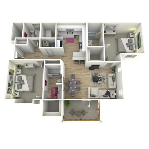 The Barnes FloorPlan at Manchester Place, Lithia Springs, 30122
