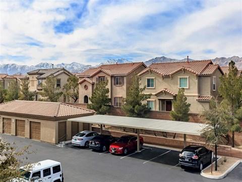 Aerial View Of Montecito Pointe Parking in Las Vegas Rental Homes