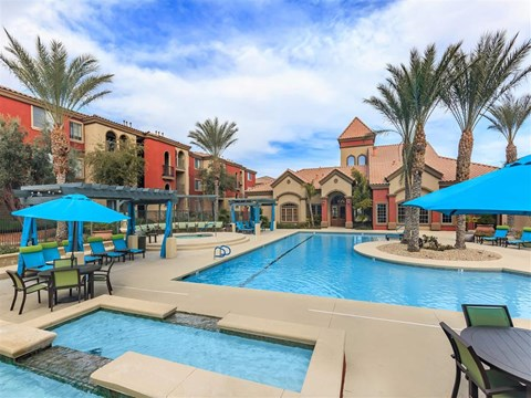 Community Clubhouse With Swimming Pool at Montecito Pointe, Las Vegas, NV, 89166