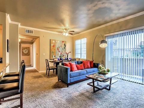 Decorated Montecito Pointe Living Room in Las Vegas Apartments