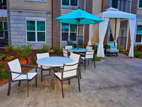 Shaded Courtyard Patio at Pointe at Lake CrabTree, Morrisville, North Carolina
