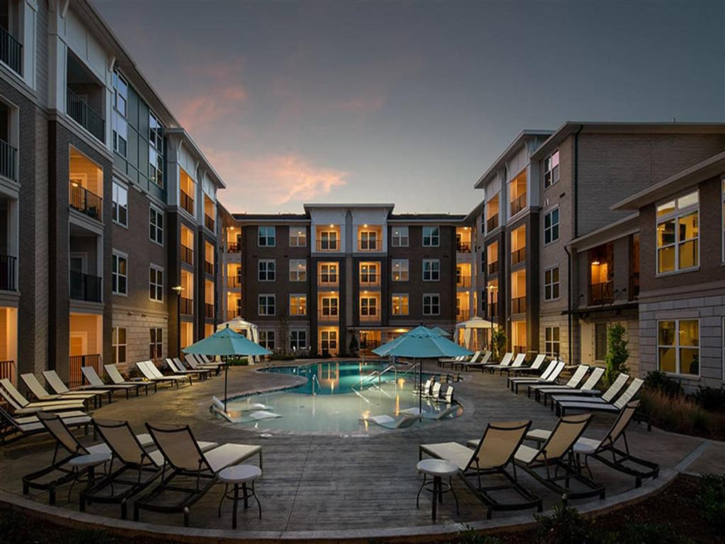 Lounge Swimming Pool With Cabana at Pointe at Lake CrabTree, Morrisville, NC, 27560