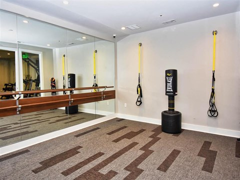 Fitness Center With Yoga/Stretch Area at Pointe at Lake CrabTree, Morrisville, NC