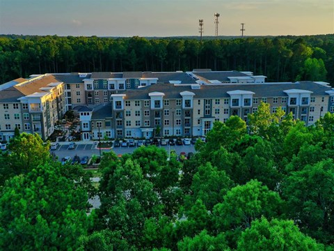 Drone Exterior View at Pointe at Lake CrabTree, Morrisville, NC