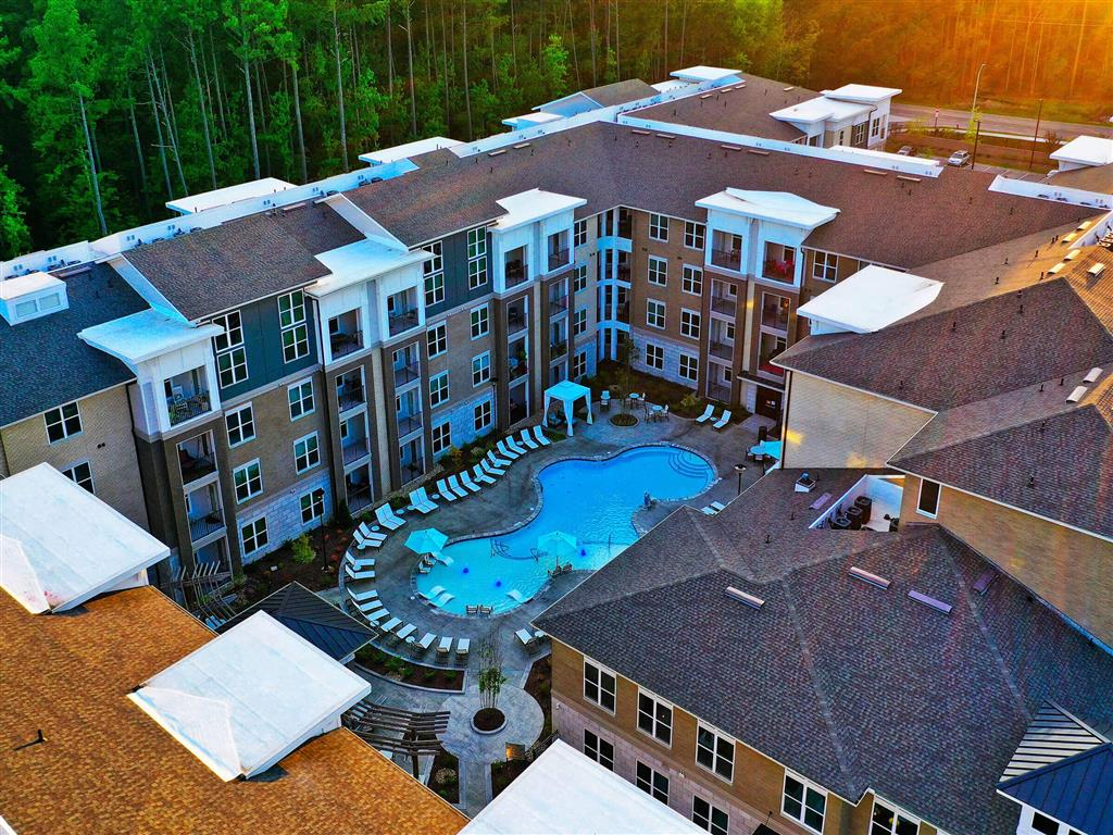 Aerial View Of Pool at Pointe at Lake CrabTree, Morrisville, NC