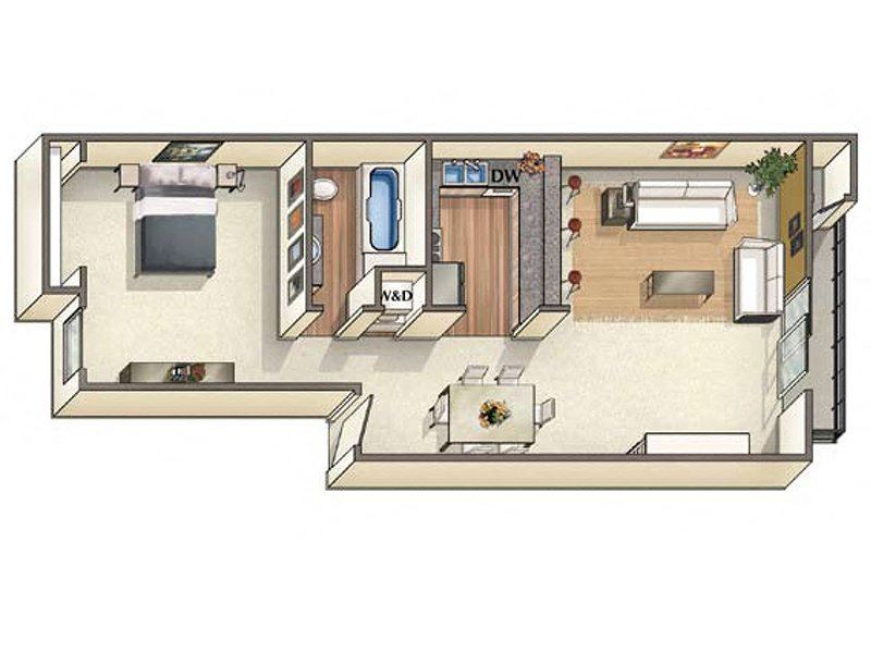 One bedroom floor plan l Vineyard Gardens in Santa Rosa Ca