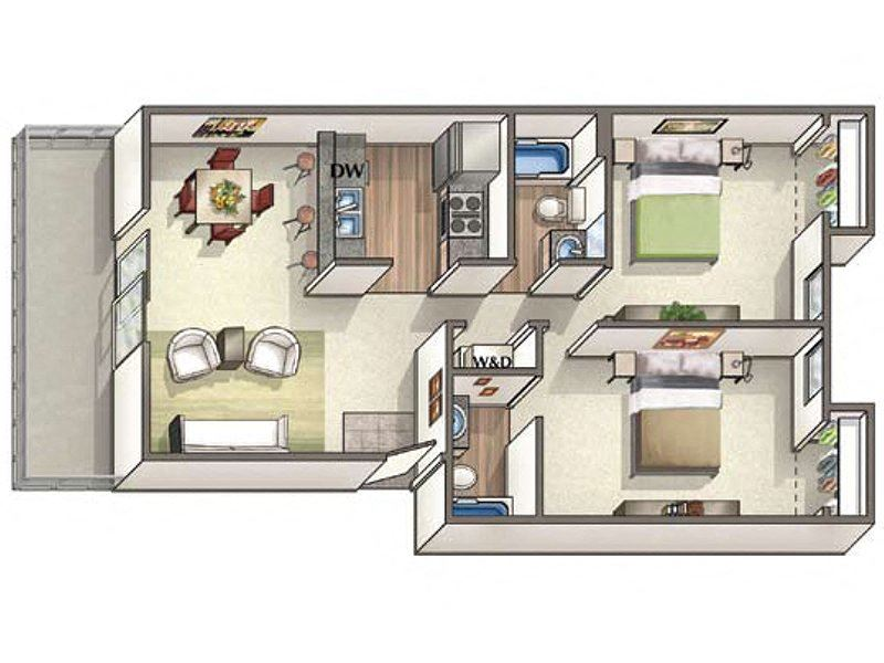 Two bedroom one bath floor plan  l Vineyard Gardens in Santa Rosa Ca