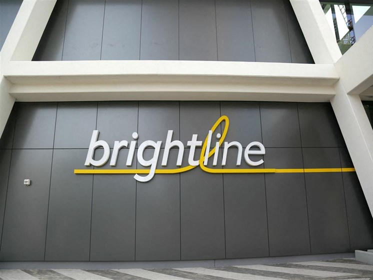 The Brightline train stops right across the street