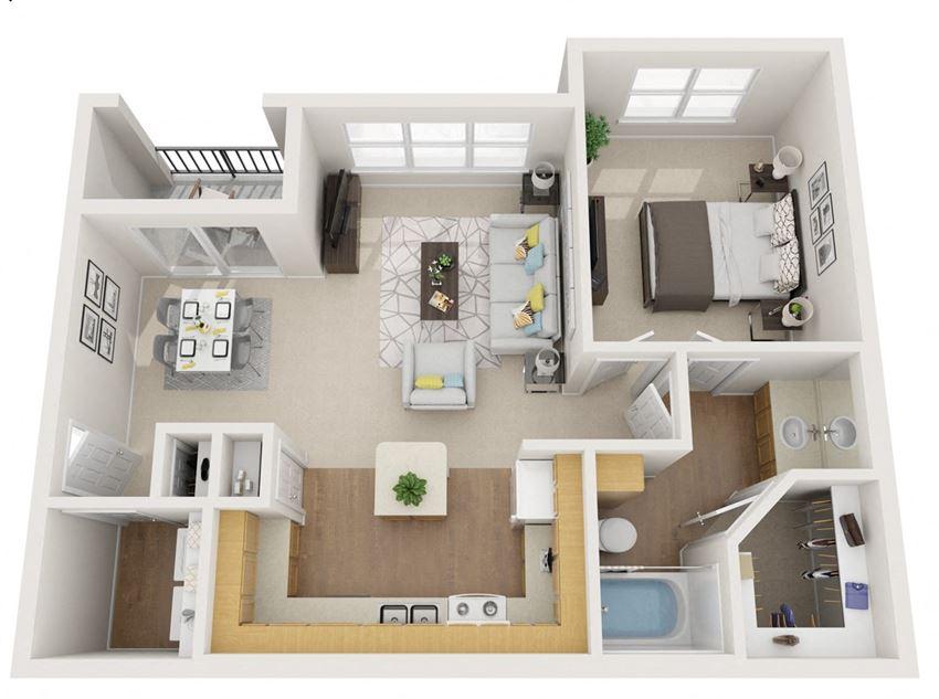 1 bedroom floor plan | Summerwind Apartment Homes Pearland TX
