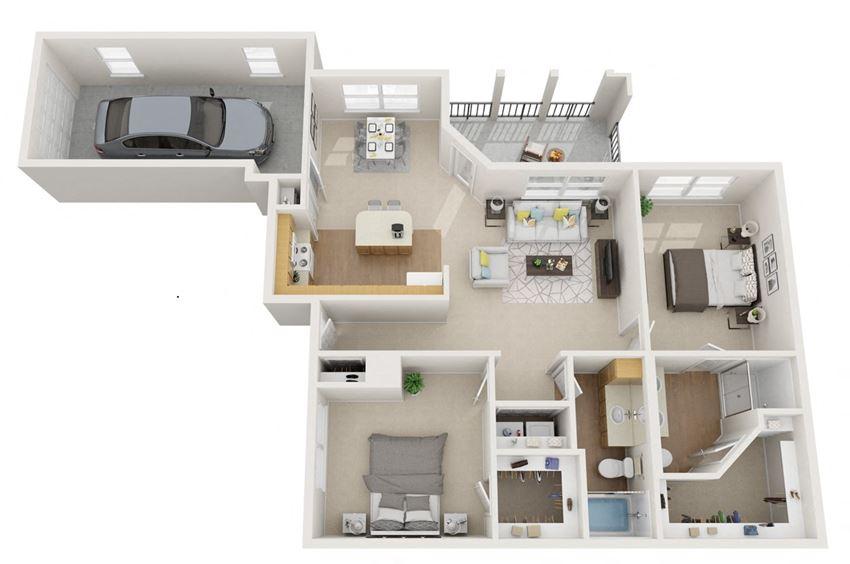 2 bedroom floor plan | Summerwind Apartment Homes Pearland TX