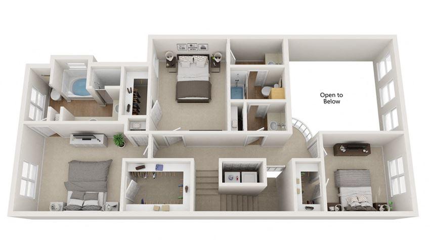 3 bedroom floor plan | Summerwind Apartment Homes Pearland TX