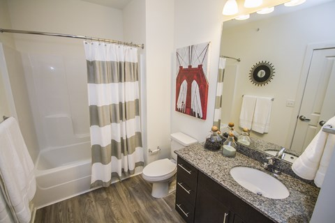 Bathroom with tub shower combination, toilet, and vanity with granite countertops