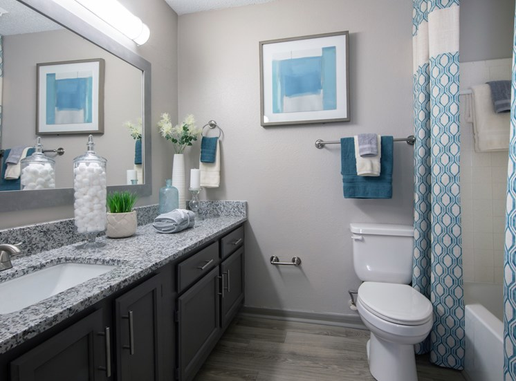 model bathroom with granite countertops