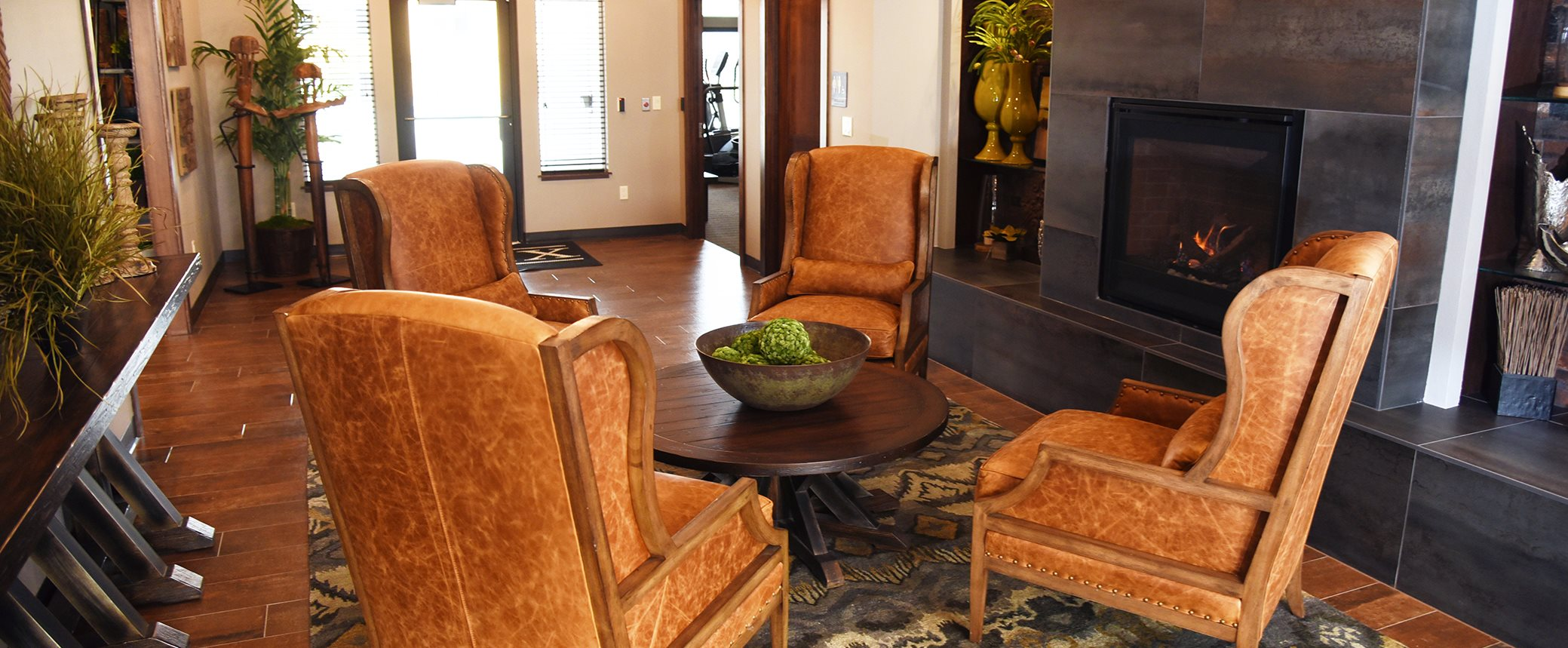 Lounge Area With Fireplace at The Brix Apartments, Washington, 99037