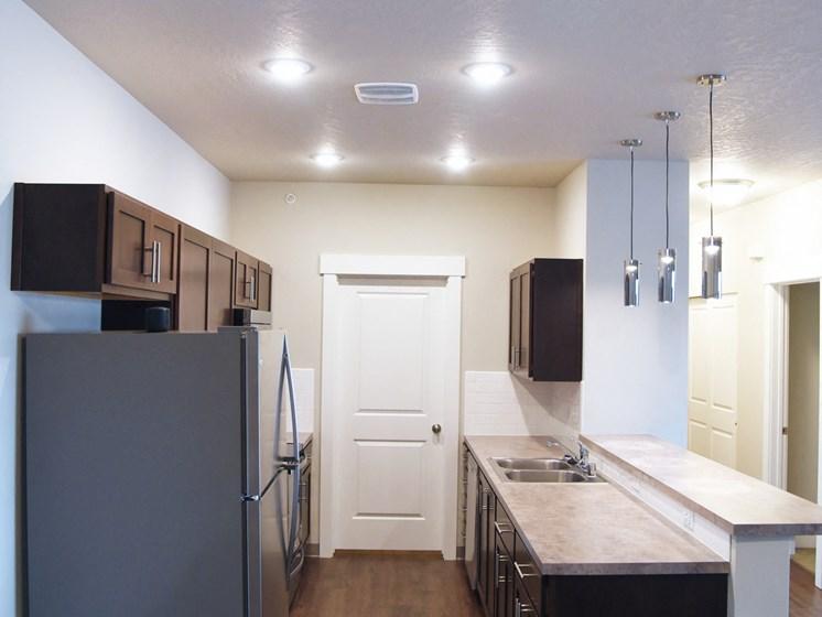Double Door Refrigerator at The Brix Apartments, Spokane Valley, Washington