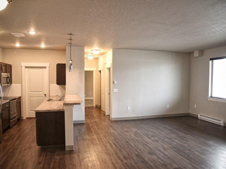 Living & Kitchen View at The Brix Apartments, Spokane Valley, WA, 99037