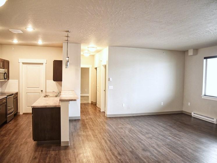 Living Cum Kitchen Area at The Brix Apartments, Spokane Valley, WA
