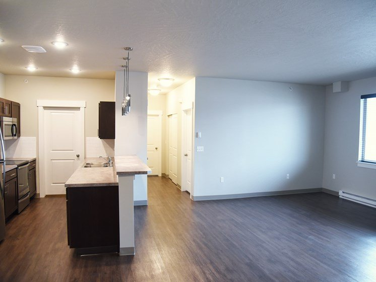 Wood Floor Living & Kitchen Room at The Brix Apartments, Spokane Valley, 99037