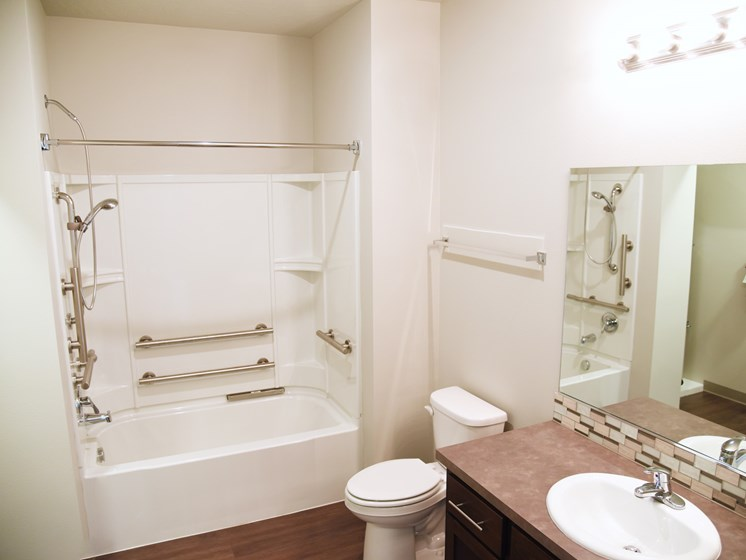 Large Soaking Tub In Bathroom at The Brix Apartments, Spokane Valley, 99037