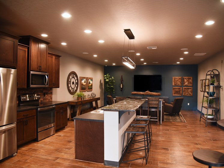 Equipped Kitchen In Clubhouse at The Brix Apartments, Spokane Valley, 99037