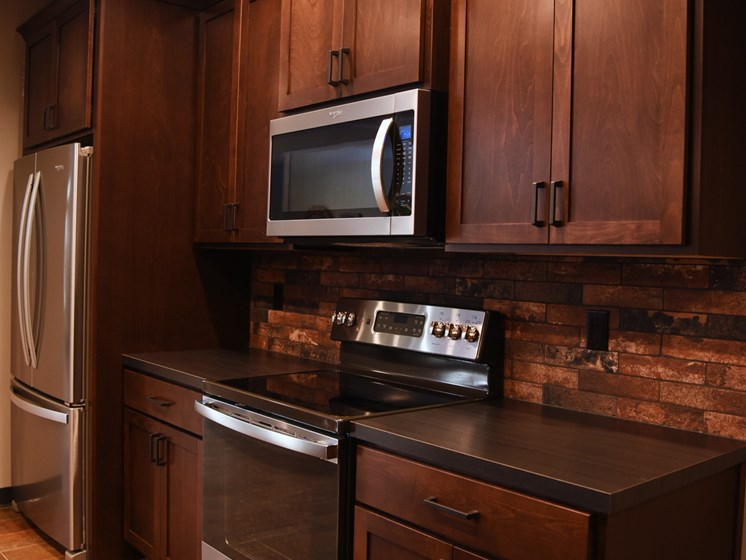 Clubhouse Kitchen at The Brix Apartments, Spokane Valley